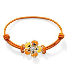 Thomas Sabo Bright Flower bracelet in 925 Sterling silver with black, orange and yellow enamel petals around a white synthetic zirconia centre with a cotton-rubber strap. (Width Cotton-rubber bracelet has adjustable length Thomas Sabo, Bright Flowers, Tropical Flowers, Handmade Bracelets, Bracelets For Men, Orange, Ribbon Bracelets, Flower Bracelet, Bangles