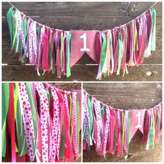 Pink and Green High Chair Banner by PartyGypsy on Etsy, $30.00