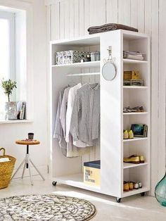54 Custom Small Closet Design Ideas That You Can Try In Your Home - Coziem Diy Fitted Wardrobes, Wooden Closet, Makeshift Closet, Portable Closet, Diy Wardrobe, Wardrobe Storage, Wardrobe Design, Closet Storage, Diy Casa