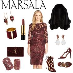 Marsala by steffyyeah on Polyvore featuring polyvore, fashion, style, Tadashi Shoji, Harrods, René Caovilla, Alexandre Birman, Yves Saint Laurent, Federica Rettore, Blue Nile and Dsquared2