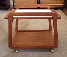70's Danish Teak mini bar cart w/lift off tray. 24 1/4w x 16d x 21 1/2h Dealer 1960 $535