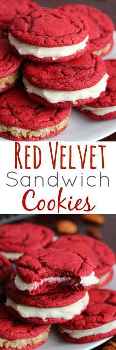 Red Velvet Sandwich Cookies with Cream Cheese Filling made from scratch - Soft and chewy cookie with amazing creamy filling. Cake Pops, Cake Mix Cookies, Sandwich Cookies, Shortbread Cookies, Buckeye Cookies, Cream Cheese Cookie Recipe, Cream Cheese Filling, Cream Cheeses, Pancakes For Dinner