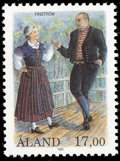 Finnish stamp 1993 - Åland stamp - national costume of Finström by Allan Palmer