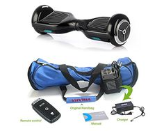 EFOUND® Two Wheels Smart Self Balancing Electric Scooters Drifting Board Kids Adult Transporter with LED Light+Blue Scooter Carrying Bag Handbag +Remote Control (Black)