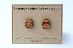 Stormtrooper Earrings - alder laser cut star wars wood earrings