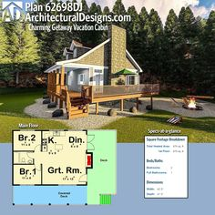 Architectural Designs Tiny House Plan 62698DJ gives you 670 square feet of heated living space. Ready when you are! Where do YOU want to build? #62698dj #adhouseplans #architecturaldesigns #houseplan #architecture #newhome #newconstruction #newhouse #homedesign #dreamhome #dreamhouse #homeplan #architecture #architect #housegoals#vacation #tinyhouse #tinyhome #house #home