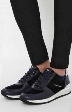 Кожаные кроссовки с текстильной вставкой