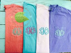 Comfort Colors 6030 Pocket Tee, Personalized Pocket T-Shirt, Monogrammed short-sleeved comfort colors pocket tee by TheScentedSoybeanCo on Etsy