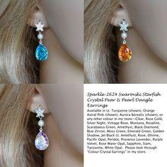 Choose Your Colour -- Swarovski Starfish Pear Dangle Earrings (Sparkle-2624)…
