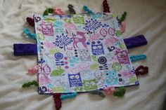 Girl Purple Woodland Owl Baby Blanket Lovie with Crochet and Minky Tags - Baby Taggie Blanket on Etsy, $20.00