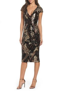 Free shipping and returns on Dress the Population Allison Sequin Velvet Body-Con Dress (Nordstrom Exclusive) at Nordstrom.com #ad Dazzling sequins swirl over every curve, enhancing the body-con fit of this gala-to-club dress with a plunging V-neckline.