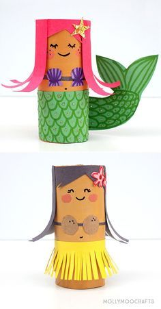 TP Roll Hula Girl and her Mermaid BFF - just about the cutest toilet roll craft . - TP Roll Hula Girl and her Mermaid BFF – just about the cutest toilet roll craft for kids to get u - Cute Crafts, Creative Crafts, Easy Crafts, Neon Crafts, Rainbow Crafts, Bunny Crafts, Creative Kids, Crafts For Girls, Diy For Kids