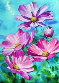 Acrylic Painting Flowers, Acrylic Painting Tutorials, Watercolor Flowers, Watercolor Paintings, Flower Drawing Tutorials, Art Classroom, Watercolor Landscape, Cute Art, Bunt