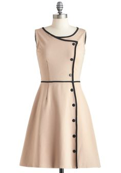 Chord-ially Yours Dress - Tan, Black, Solid, Buttons, Work, A-line, Sleeveless, Mid-length, Trim