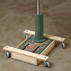Drill-press Mobile Base. This easy-to-resize project captures the metal base of your drill press and rolls on locking swivel casters. http://www.woodstore.net/modrba.html
