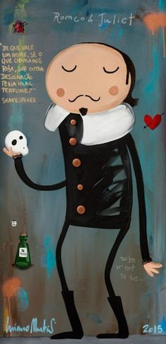 LM.080 Hamlet 51x104,5_ Luciano Martins, Whimsical Art, Positive Thoughts, Famous People, Hello Kitty, Disney Characters, Fictional Characters, Snoopy, Disney Princess