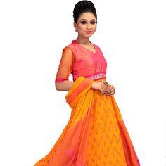 Golden Orange Faux Georgette Readymade Abaya Style Churidar Kameez