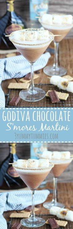 Only 3 ingredients are combined for this decadent martini with Godiva Chocolate Liqueur, Marshmallow Vodka, and Cream with a graham cracker rim. More