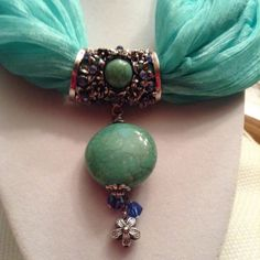 Silver Floral Scarf Ring w/Turquoise by ErinMichellesJewelry, $12.00