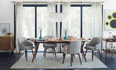 I love the West Elm Happy-To-Host Dining Room on westelm.com/ (minus the chandelier)