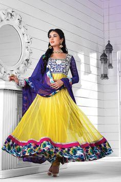 Bollywood famous diva sonal chauhan lemon orange kurta and blue color sleeve heavy neck work designer including multi color border salwar suit.