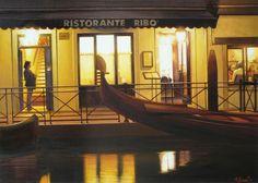 Thierry Duval (©2009 artmajeur.com/berlin) Aquarelle originale - Venise. La nuit transforme la ville, et certains lieux très communs y gagnent une ambiance et deviennent alors un véritable décor poétique et onirique. C'est alors une lumière de doute, d'absence, et de temps suspendu qui gagnent sur l'image. Cette aquarelle est un hommage au célèbre peintre américain Edward Hooper, à ces ambiances nocturnes chargées de mystère, notamment à son fameux tableau : Nighthawks. Prix sur demande. ...