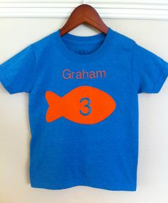 Goldfish Birthday Party Shirt  3T only by honeydewmoon on Etsy, $20.00