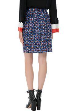 Женская синяя буклированная мини-юбка прямого кроя Emilio Pucci, сезон FW 16/17, арт. 66/RV92/66704 купить в ЦУМ   Фото №4