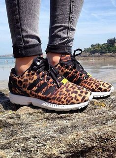 ZX Flux Shoes by Adidas 8 1/2 custom with black and leopard