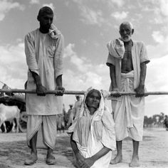 <b>Original caption from LIFE in 1947.</b> This strange litter was devised to carry aged and exhausted Moslem woman, sitting in a sheet with legs drawn up. The bamboo pole is supported by her brother-in-law and her son. When this photograph was made, the family had been four days without food, but men were managing to keep up with convoy.
