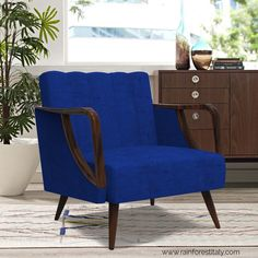 Let your visitors go gaga over your stunning home decor especially with this royal blue-hued designer chair.  #chair #accentchair #woodenchair #furniture #homedecor #designerfurniture #woodenfurniture #woodenaccentchair #thursdaythoughts