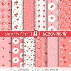 Shabby Chic Paper, Cottage Scrapbook Digital Paper, Pink Flowers, Scrapbooking, Shabby Chic Digital Paper Pack - INSTANT DOWNLOAD  - 1731 by blossompaperart