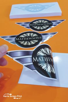 Car window stickers printed for Mathewsons UK with a unique shape fitting perfectly around their logo. Special shaped car window stickers gives your design a professional and distinctive finish, really showing off your brand and logo to the max. The special shaped car window stickers peel easily from their individual backings and stick to the inside of car windows, design facing outwards. A great way to promote businesses in the motor trade! Car Window Stickers, Car Stickers, Rear Window, Custom Cars, Screen Printing, Windows, Shapes, Logo, Printed