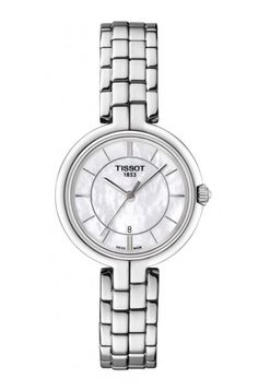 a697afd22129 Tissot Flamingo Lady Silver Quartz Analog Women's Watch Stainless steel  case with a stainless steel bracelet. Fixed stainless steel bezel.