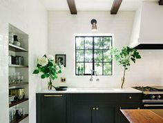 kitchen inspiration- Black, Gold and White