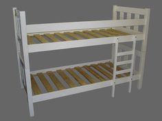 This is the bunk bed we put in the room. Although it is white on the picture, ours is actually a little bit more rustic looking.