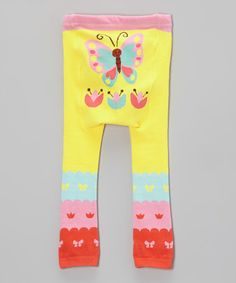 Love this Yellow & Pink Butterfly Leggings - Infant on #zulily! #zulilyfinds