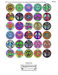 PAZ y amor Digital Collage hoja 5 tamaños por KergieCreations