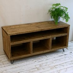 Reclaimed Wood TV Stand Hairpin Leg Rustic by OxRusticFurniture Pine Bookcase, Rustic Bookcase, Reclaimed Wood Tv Stand, Reclaimed Timber, Tv Stand Decor, Diy Tv Stand, Industrial Tv Stand, Rustic Industrial, Tv Stand Hairpin Legs