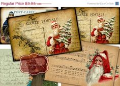 75% OFF SALE Vintage Santa Claus Postcards by TheGraphicsQueen