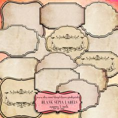 16 sepia Scrapbook Frames, vintage labels, tags for use in scrapbooking, label making and invitations.