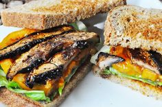 Portobello Mushroom Bacon - Vegan Bacon - When I was a kid one of my favorite sandwiches was a bacon, lettuce, and tomato. A good BLT rocked my world. I loved the smoky, salty flavor of the bacon. Vegan Foods, Vegan Dishes, Vegan Meals, Tasty Dishes, Vegan Breakfast Recipes, Vegetarian Recipes, Vegetarian Cooking, Vegetarian Barbecue, Vegetarian Breakfast