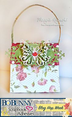 Exploding Box Mother's Day Purse and gift bag by Margie Higuchi for Scrapbook Adhesives by 3L & BoBunny Blog Hop!