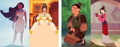 costume transformations: Pocahontas and Mulan