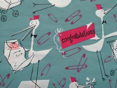 Vintage Gift Wrapping Paper - Blue Stork Delivery - Baby Boys - New Baby - 1 Unused Full Sheet Baby Shower Gift Wrap on Etsy, $6.00