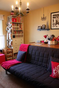 I like the lounging area - also the hanging hooks on the side of the bookshelf.
