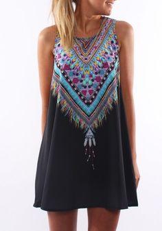 Bohemian Style Black Geometric Print Round Neck Sleeveless Bohemian Chiffon Mini Dress #Boho #Chic #Bohemian #Style #Beach #Dress #Fashion
