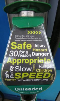 Bedfordshire and Luton Casualty Reduction Partnership promote road safety using petrol pump nozzles.