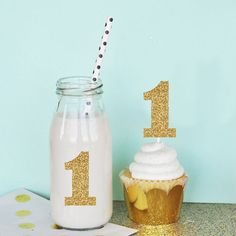 Glitter Numbers Glitter First Birthday Decorations by ModParty