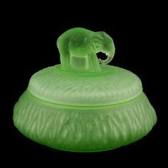 Greensburg Elephant Powder Jar Green Depression Glass